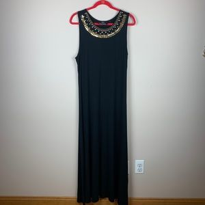 Dennis Basso Maxi with Gold Embellished Collar